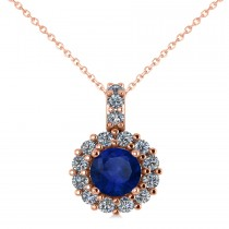 Round Blue Sapphire & Diamond Halo Pendant Necklace 14k Rose Gold (0.90ct)