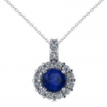 Round Blue Sapphire & Diamond Halo Pendant Necklace 14k White Gold (0.90ct)