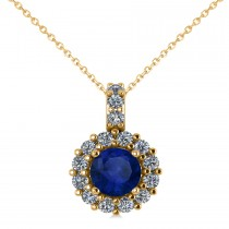 Round Blue Sapphire & Diamond Halo Pendant Necklace 14k Yellow Gold (0.90ct)