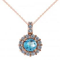 Round Blue Topaz & Diamond Halo Pendant Necklace 14k Rose Gold (0.86ct)
