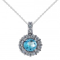 Round Blue Topaz & Diamond Halo Pendant Necklace 14k White Gold (0.86ct)