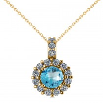 Round Blue Topaz & Diamond Halo Pendant Necklace 14k Yellow Gold (0.86ct)
