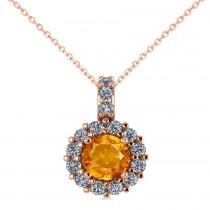Round Citrine & Diamond Halo Pendant Necklace 14k Rose Gold (0.70ct)