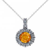 Round Citrine & Diamond Halo Pendant Necklace 14k White Gold (0.70ct)