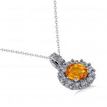 Round Citrine & Diamond Halo Pendant Necklace 14k White Gold (0.70ct)