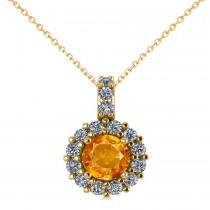 Round Citrine & Diamond Halo Pendant Necklace 14k Yellow Gold (0.70ct)