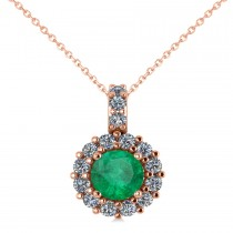 Round Emerald & Diamond Halo Pendant Necklace 14k Rose Gold (0.78ct)