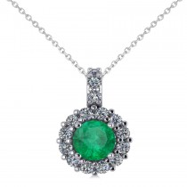 Round Emerald & Diamond Halo Pendant Necklace 14k White Gold (0.78ct)