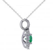 Round Emerald & Diamond Halo Pendant Necklace 14k White Gold (0.78ct)