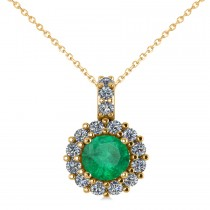 Round Emerald & Diamond Halo Pendant Necklace 14k Yellow Gold (0.78ct)