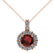 Round Garnet & Diamond Halo Pendant Necklace 14k Rose Gold (0.90ct)