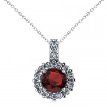 Round Garnet & Diamond Halo Pendant Necklace 14k White Gold (0.90ct)