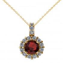 Round Garnet & Diamond Halo Pendant Necklace 14k Yellow Gold (0.90ct)