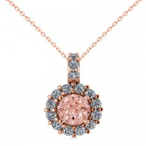 Round Pink Morganite & Diamond Halo Pendant Necklace 14k Rose Gold (0.70ct)