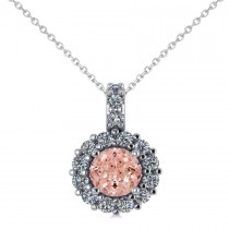Round Pink Morganite & Diamond Halo Pendant Necklace 14k White Gold (0.70ct)