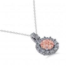 Round Pink Morganite & Diamond Halo Pendant Necklace 14k White Gold (0.70ct)