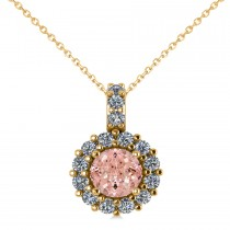 Round Pink Morganite & Diamond Halo Pendant Necklace 14k Yellow Gold (0.70ct)