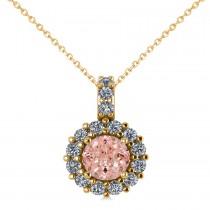 Round Pink Morganite & Diamond Halo Pendant Necklace 14k Yellow Gold (0.70ct)