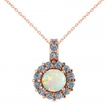 Round Opal & Diamond Halo Pendant Necklace 14k Rose Gold (0.64ct)