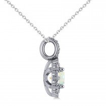 Round Opal & Diamond Halo Pendant Necklace 14k White Gold (0.64ct)