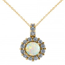 Round Opal & Diamond Halo Pendant Necklace 14k Yellow Gold (0.64ct)