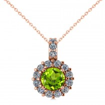 Round Peridot & Diamond Halo Pendant Necklace 14k Rose Gold (0.80ct)