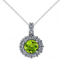 Round Peridot & Diamond Halo Pendant Necklace 14k White Gold (0.80ct)