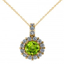 Round Peridot & Diamond Halo Pendant Necklace 14k Yellow Gold (0.80ct)