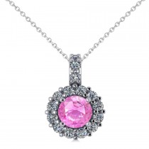 Round Pink Sapphire & Diamond Halo Pendant Necklace 14k White Gold (0.90ct)