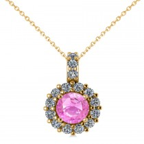 Round Pink Sapphire & Diamond Halo Pendant Necklace 14k Yellow Gold (0.90ct)