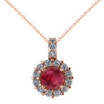 Round Ruby & Diamond Halo Pendant Necklace 14k Rose Gold (0.90ct)