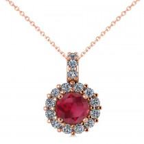 Round Ruby & Diamond Halo Pendant Necklace 14k Rose Gold (0.90ct)