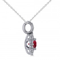 Round Ruby & Diamond Halo Pendant Necklace 14k White Gold (0.90ct)