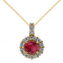 Round Ruby & Diamond Halo Pendant Necklace 14k Yellow Gold (0.90ct)