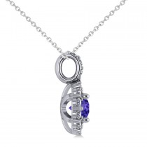 Round Tanzanite & Diamond Halo Pendant Necklace 14k White Gold (0.90ct)