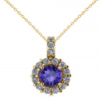 Round Tanzanite & Diamond Halo Pendant Necklace 14k Yellow Gold (0.90ct)