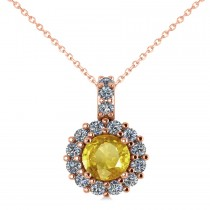 Round Yellow Sapphire & Diamond Halo Pendant Necklace 14k Rose Gold (0.90ct)
