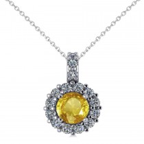 Round Yellow Sapphire & Diamond Halo Pendant Necklace 14k White Gold (0.90ct)