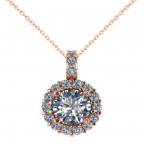 Round Diamond Halo Pendant Necklace 14k Rose Gold (1.34ct)