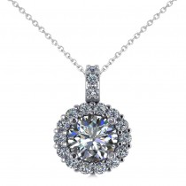 Round Diamond Halo Pendant Necklace 14k White Gold (1.34ct)