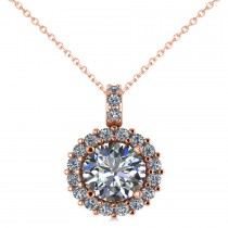 Round Diamond Halo Pendant Necklace 14k Rose Gold (1.88ct)