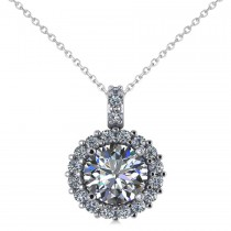 Round Diamond Halo Pendant Necklace 14k White Gold (1.88ct)