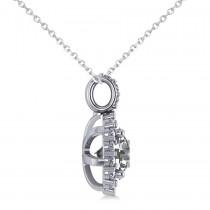 Round Diamond Halo Pendant Necklace 14k White Gold (1.88ct)