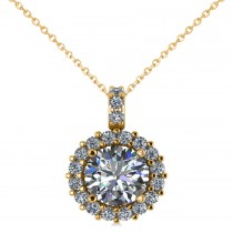 Round Diamond Halo Pendant Necklace 14k Yellow Gold (1.88ct)