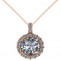 Round Diamond Halo Pendant Necklace 14k Rose Gold (2.40ct)