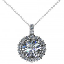 Round Diamond Halo Pendant Necklace 14k White Gold (2.40ct)