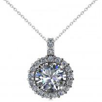 Round Diamond Halo Pendant Necklace 14k White Gold (2.40ct)