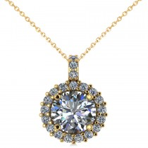 Round Diamond Halo Pendant Necklace 14k Yellow Gold (2.40ct)