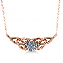 Celtic Round Diamond Pendant Necklace 14k Rose Gold (0.50ct)