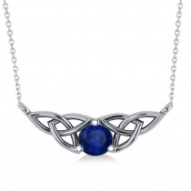 Celtic Round Blue Sapphire Pendant Necklace 14k White Gold (0.60ct)
